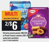 Christie Snack Packs 180/225 G Or Peek Freans Cookies 265-350 G