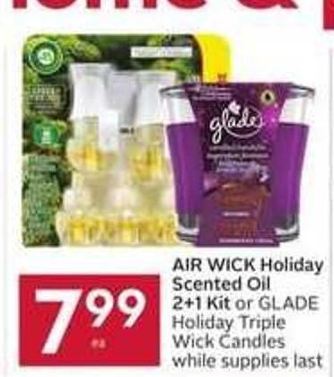 Air Wick Holiday Scented Oil 2+1 Kit or Glade Holiday Triple Wick Candles