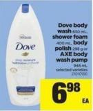 Dove Body Wash - 650 Ml - Shower Foam - 400 Ml - Body Polish - 298 G Or Axe Body Wash Pump - 946 Ml