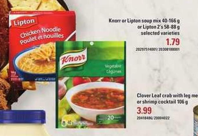 Knorr Or Lipton Soup Mix 40-166 G Or Lipton 2's 58-88 G