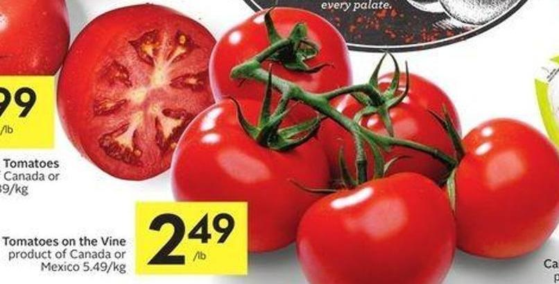 Tomatoes On The Vine Product of Canada or Mexico 5.49/kg
