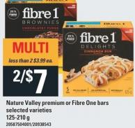 Nature Valley Premium Or Fibre One Bars - 125-210 g