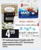 PC Bathroom Tissue - 12 Double Rolls - PC Paper Towels - 6 Rolls Or PC Facial Tissue - 6 Pack