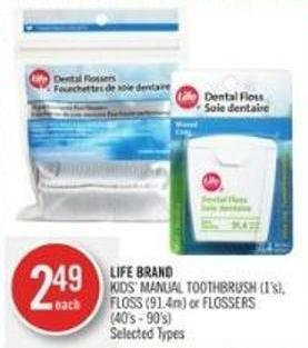 Life Brand Kids' Manual Toothbrush (1's) - Floss (91.4m) or Flossers
