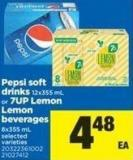 Pepsi Soft Drinks - 12x355 mL Or 7up Lemon Lemon Beverages - 8x355 mL