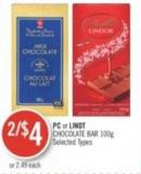 PC or Lindt Chocolate Bar 100 g