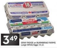 Gray Ridge or Burnbrae Farms Large White Eggs 18 Pk