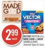 Vector Protein (4's) - Made Good or Kashi Granola Bars