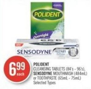 Polident Cleansing Tablets (84's - 96's) - Sensodyne Mouthwash (484ml) or Toothpaste (65ml - 75ml)