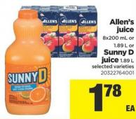 Allen's Juice - 8x200 mL or 1.89 L Or Sunny D Juice - 1.89 L