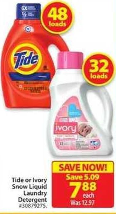 Tide or Ivory Snow Liquid Laundry Detergent