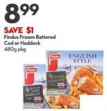 Findus Frozen Battered Cod or Haddock 480g