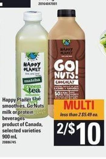 Happy Planet Smoothies - Go Nuts! Milk Or Protein Beverages - 900 mL