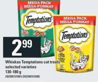 Whiskas Temptations Cat Treats - 130-180g