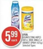 Lysol Disinfecting Wipes (80's) - Wide Angle or Airmist Spray (425g)