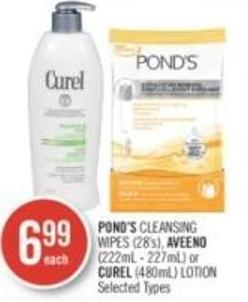 Pond's Cleansing Wipes (28's) - Aveeno (222ml - 227ml) or Curel (480ml) Lotion