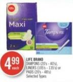 Life Brand Tampons (20's - 40's) - Liners (105's - 135's) or Pads (20's - 48's)
