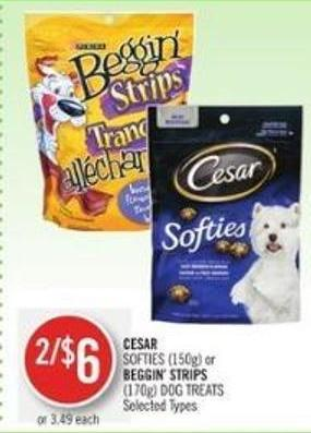 Cesar Softies (150g) or Beggin' Strips (170g) Dog Treats