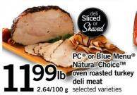 PC Or Blue Menu Natural Choicetm Oven Roasted Turkey Deli Meat - 2.64/100 G