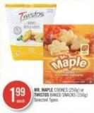 Mr. Maple Cookes (250g) or Twistos Baked Snacks (150g)