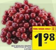 Red Seedless Grapes  Product of Chile No. 1 Grade
