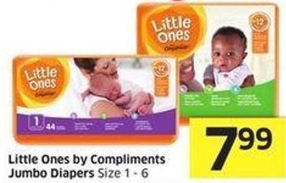 Little Ones By Compliments Jumbo Diapers Size 1-6