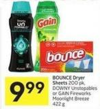 999 Bounce Dryer Sheets 200 Pk - Downy Unstopables or Gain Fireworks Moonlight Breeze 422 g
