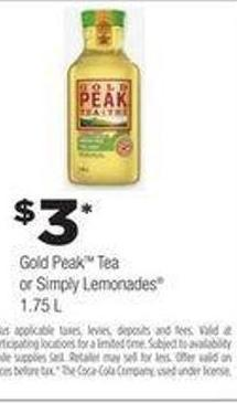 Gold Peak Tea Or Simply Lemonades - 1.75 L