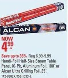 Handi-foil Half-size Steam Table Pans - 10-pk - Aluminum Foil - 100´ or Alcan Ultra Grilling Foil - 35´