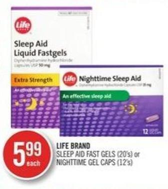 Life Brand Sleep Aid Fast Gels (20's) or Nightime Gel Caps (12's)