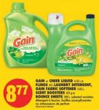 Gain or Cheer Liquid - 4.43 L or Flings - 42's Laundry Detergent - Gain Fabric Softener - 3.83 L - Scent Boosters - 422 g or Bounce Sheets - 200's