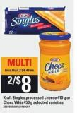 Kraft Singles Processed Cheese - 410 G Or Cheez Whiz - 450 G