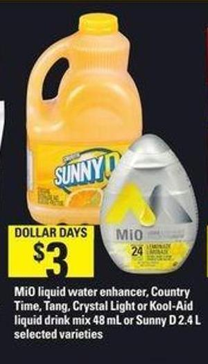Mio Liquid Water Enhancer - Country Time - Tang - Crystal Light Or Kool-aid Liquid Drink Mix - 48 mL Or Sunny D - 2.4 L