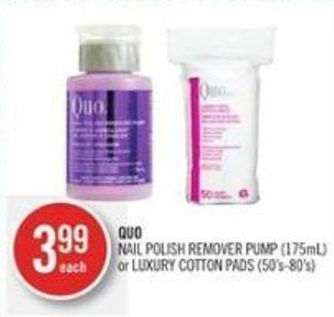 Quo  Nail Polish Remover Pump (175ml) or Luxury Cotton Pads (50's-80's)