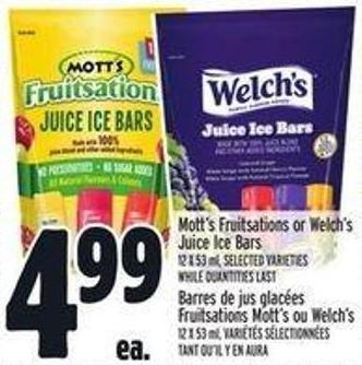 Mott's Fruitsations Or Welch's Juice Ice Bars
