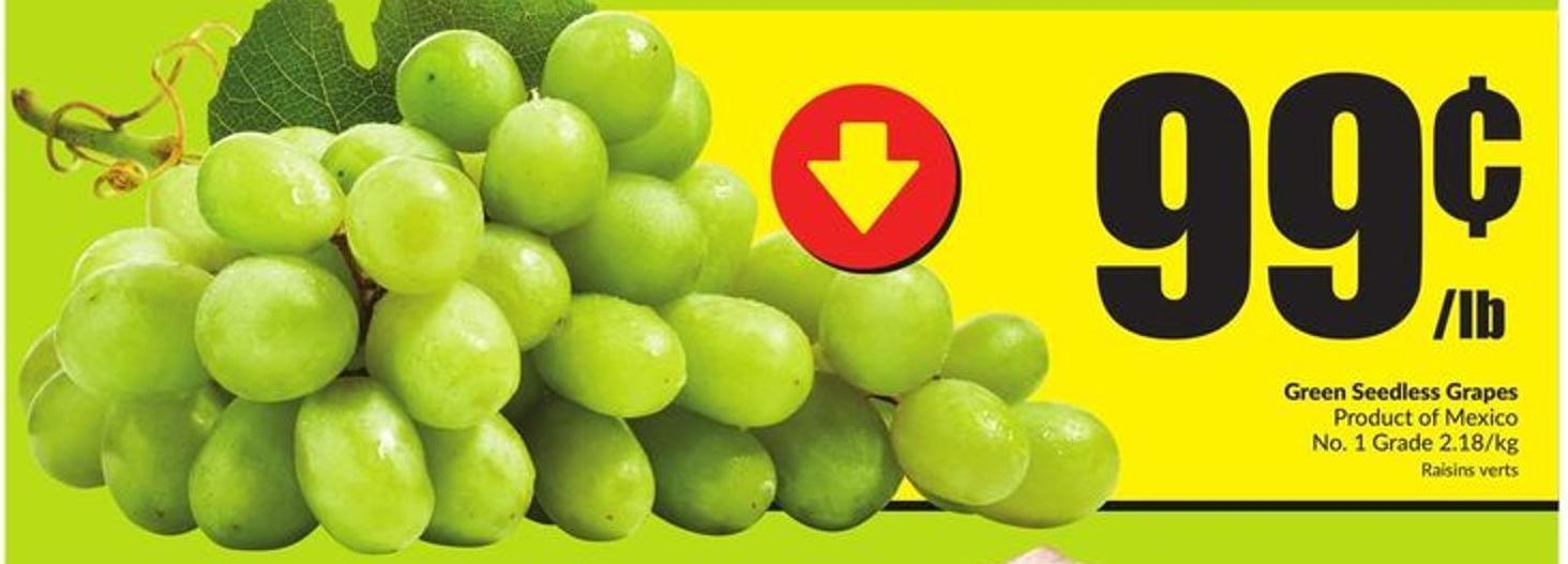 Green Seedless Grapes Product of Mexico No. 1 Grade 2.18/kg