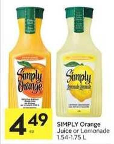 Simply Orange Juice or Lemonade 1.54-1.75 L