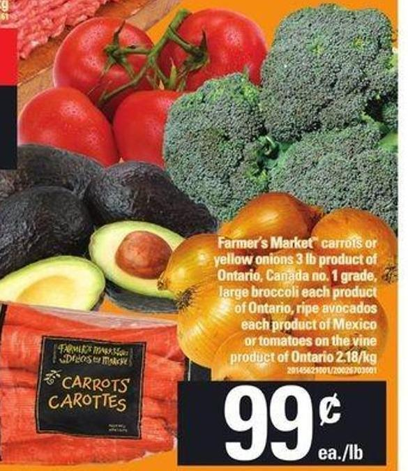 Farmer's Market Carrots Or Yellow Onions 3 Lb - Large Broccoli - Ripe Avocados - Tomatoes On The Vine