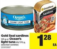 Gold Seal Sardines 125 G Or Ocean's Light Tuna 85/170 G