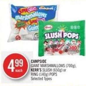 Campside Giant Marshmallows (700g) - Kerr's Slush (650g) or Ring (140g) Pops