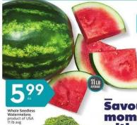 Whole Seedless Watermelons Product of USA 11 Lb Avg