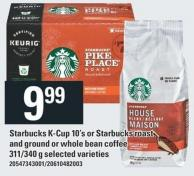 Starbucks K-cup 10's Or Starbucks Roast And Ground Or Whole Bean Coffee - 311/340 g
