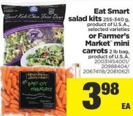 Eat Smart Salad Kits - 255-340 G Or Farmer's Market Mini Carrots - 2 Lb Bag