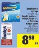 Buckley's Syrup - 150-200 mL - Liquid Gels 24's - Neocitran 10's or Otrivin Nasal Care - 20-100 mL