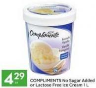 Compliments No Sugar Added or Lactose Free Ice Cream
