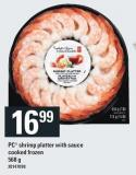 PC Shrimp Platter With Sauce Cooked Frozen - 568 g