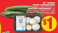 PC Whole White Mushrooms 227 g or English Cucumbers Each