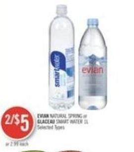 Evian Natural Spring or Glaceau Smart Water