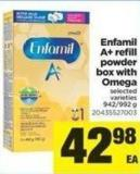 Enfamil A+ Refill Powder Box With Omega - 942-992 g
