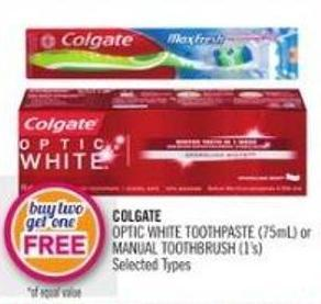 Colgate Optic White Toothpaste (75ml) or Manual Toothbrush (1's)